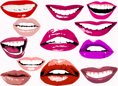 lips with different lipstick colors